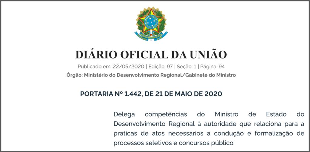 delegação de competência ministério do desenvolvimento regional