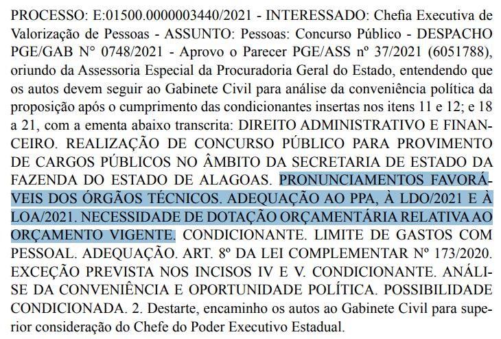 PARECER FAVORÁVEL CONCURSO SEFAZ AL