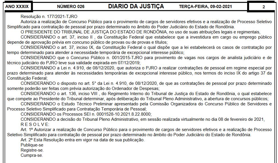 AUTORIZAÇÃO TJ RO