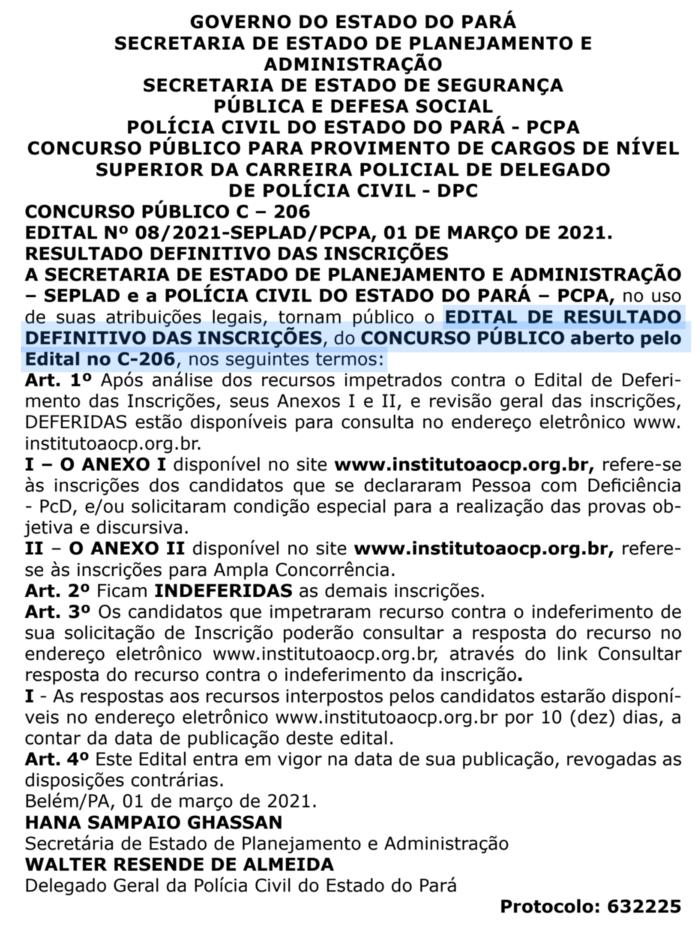inscrições deferidas concurso polícia civil do pará