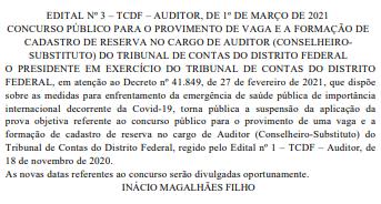 Concurso TCDF suspenso