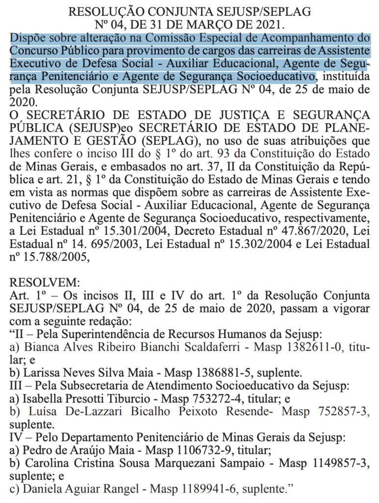comissão alterada Concurso Polícia Penal MG
