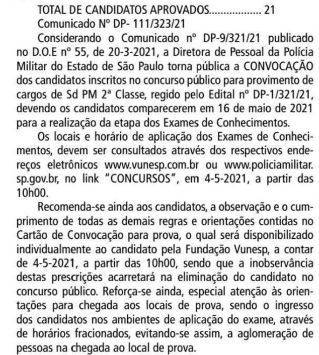 RETORNO CONCURSO PM SP