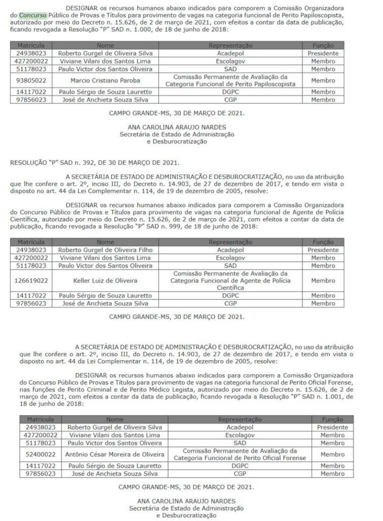 Concurso PC MS comissão formada