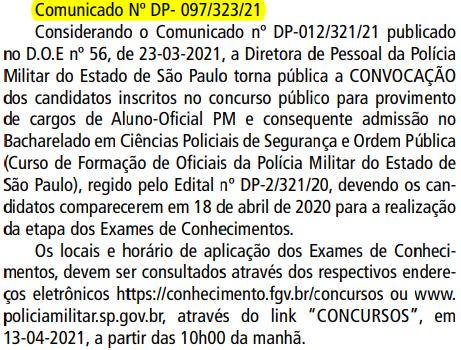 comunicado concurso PM SP Oficial