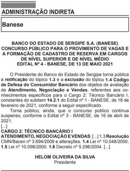 retificação edital do concurso banese