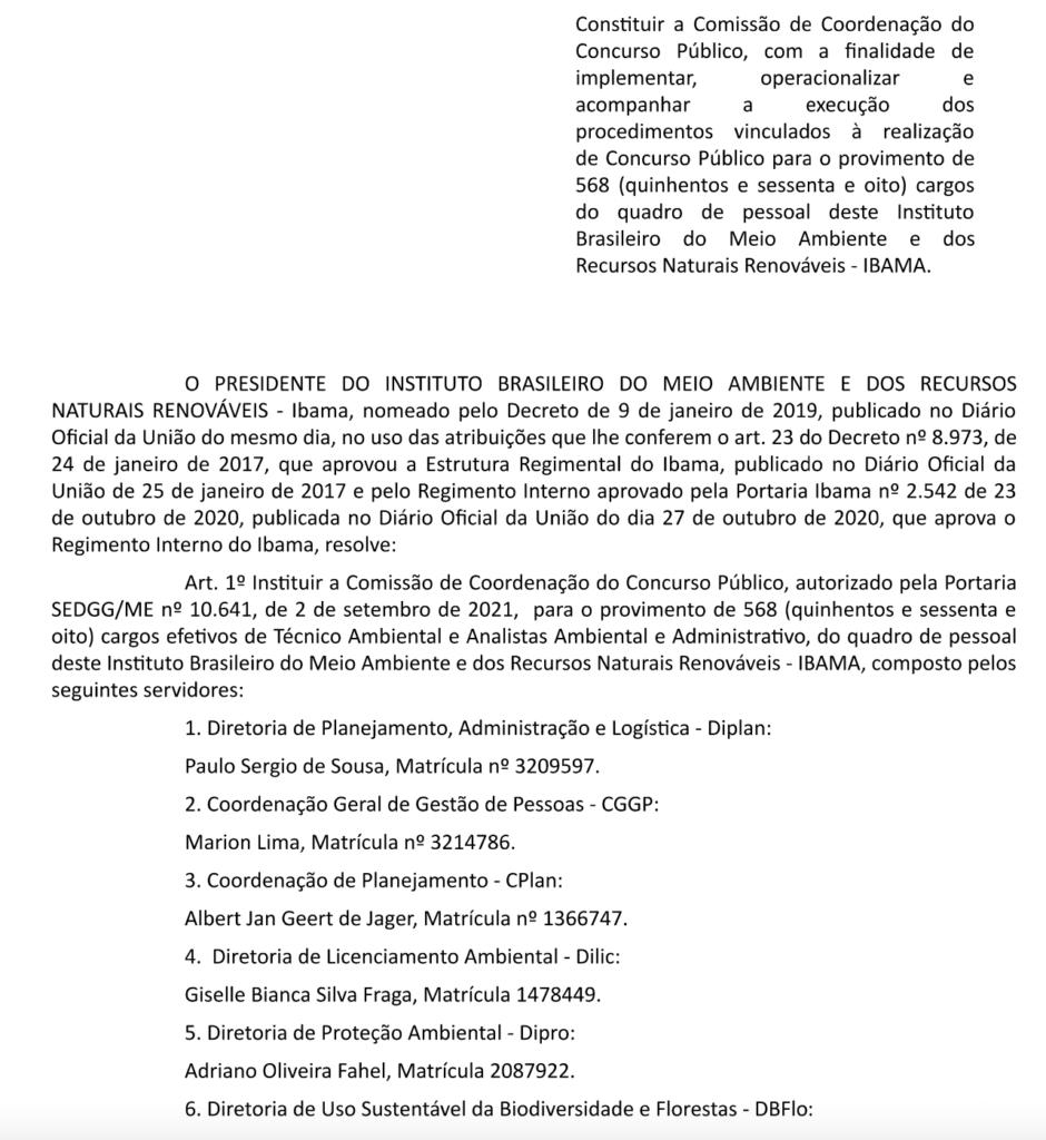 Concurso Ibama comissão formada