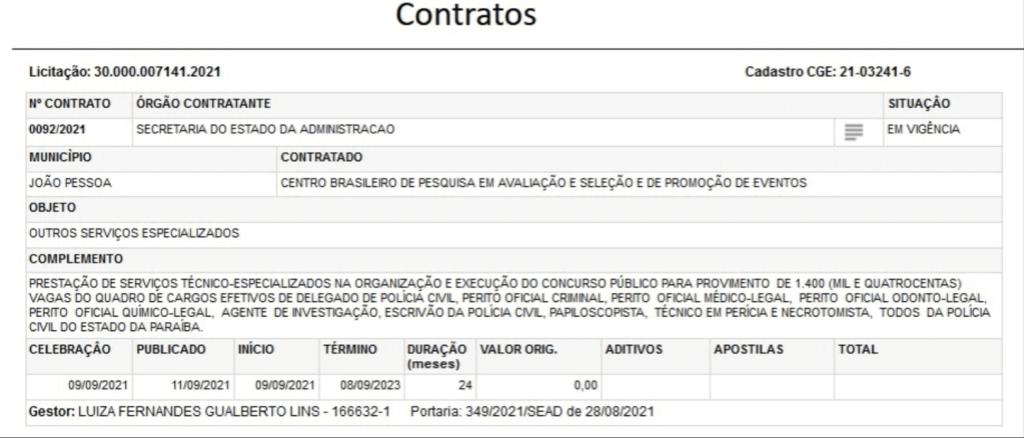 Concurso PC PB: contratto Cebraspe
